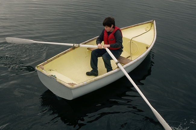 Michael in dinghy